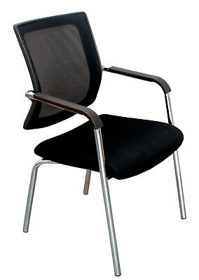 Chair Office Makro Mesh Chrome Support Mesh Seat Upholstered Black