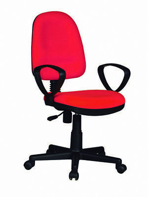 Chair Office Swivel Resistant Seat Adjustable Padded Arm PVC Red