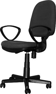 Chair Office Swivel Resistant Seat Adjustable Padded Arms PVC Black