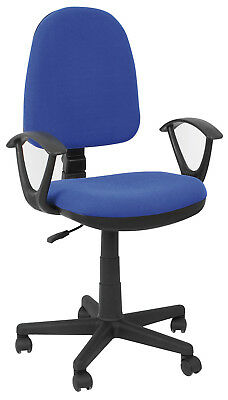 Chair Office Swivel Resistant Seat Adjustable Padded Arms PVC Blue