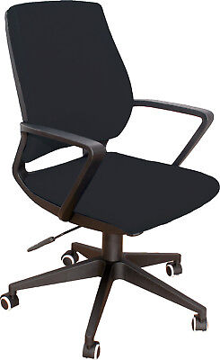 Chair Office Swivel Spin Comfort Padded Seat Adjustable Arm PVC Black