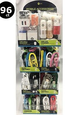 96 Pcs Cell Phone Chargers And Cables Wholesale Counter Display