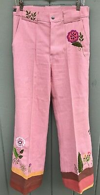 WILD 60's 70's VINTAGE HIPPIE FLOWER POWER HUGE BELLBOTTOM PINK DENIM 32x32 JEAN