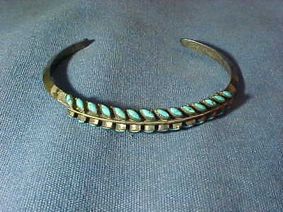 Vintage ZUNI Native American STERLING + TURQUOISE Cuff BRACELET