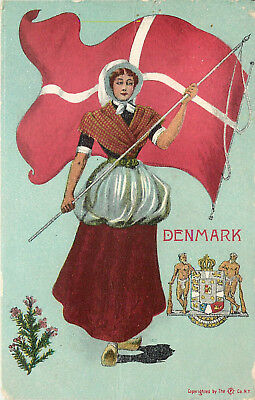 Vintage Postcard Danish Woman In Native Costume Flag Of Denmark