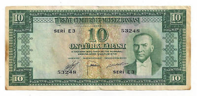 1930 Turkey Seri E3 10 Lirasi Note