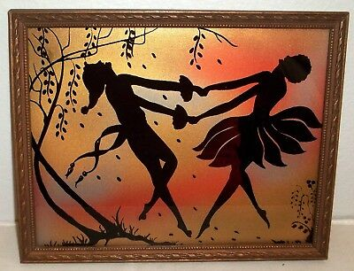 Vintage Art Deco 'Rainbow Silhouette' Picture Two Dancing Maidens
