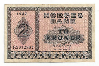 1947 Norway - Norges Bank 2 Kroner Note, F Prefix, Signed by E. Thorp