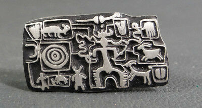 Modernist Alice Warder Seely Urban Fetishes Petroglyph Animal Pewter Pin Brooch