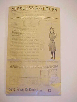 c1910 Antique Edwardian Peerless Girl Pre-teen Dress Pattern # 5812 12Yrs