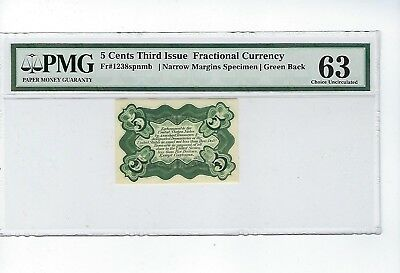 Fr. 1238spnmb Green Back 5 Cent 3rd Issue PMG 63 narro Margins Specimen *Scarce*