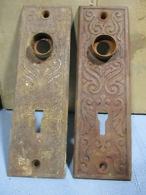 Pair Eastlake Door Backplates - Ornate Victorian Hardware -