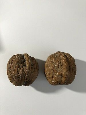 Vintage/Antique Hand Carved Real Walnut Shell Oriental Carvings Pair
