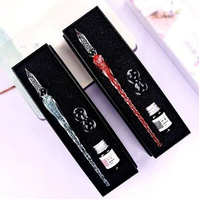 Vintage Elegant Luminous Crystal Dip Sign Pen Handmade Glass SIGNATURE PEN Gift