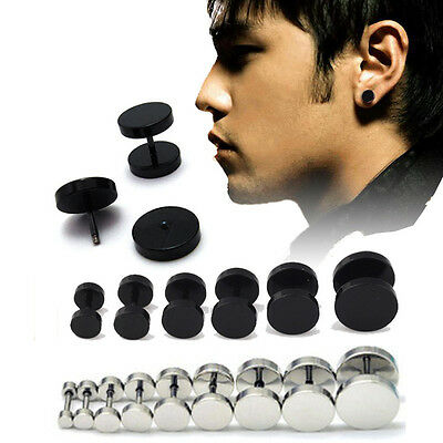 1Pair 2Pcs Mens Jewelry Barbell Punk Gothic Stainless Steel Ear Studs Earring TY