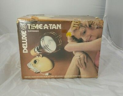 VINTAGE UNUSED GE DELUXE TIME A TAN SUN TANNING LAMP In BOX w MANUAL & GOGGLES