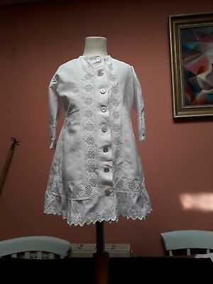 Vintage Victorian Childrens Doll Coat Hand Embroidery White Work Antique White C