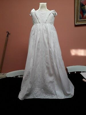 Vintage Christening Gown Hand Embroidery Ayrshire Antique Baby White Cotton