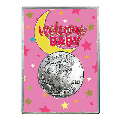1998 $1 American Silver Eagle Gift Holder - Welcome Baby Pink Design