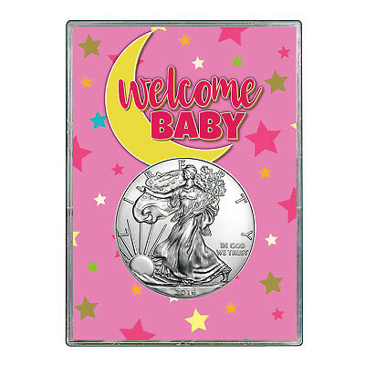 2016 $1 American Silver Eagle Gift Holder - Welcome Baby Pink Design