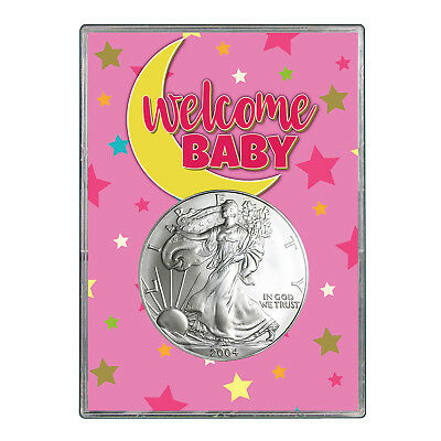 2004 $1 American Silver Eagle Gift Holder - Welcome Baby Pink Design
