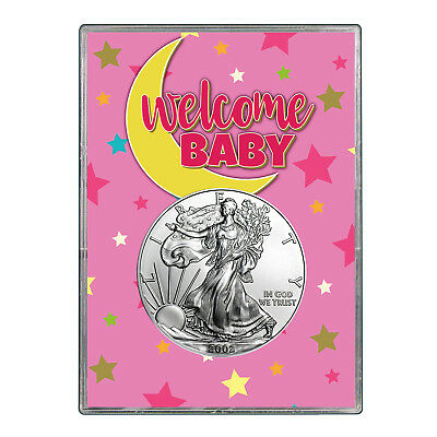 2002 $1 American Silver Eagle Gift Holder - Welcome Baby Pink Design
