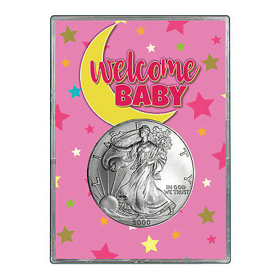 2000 $1 American Silver Eagle Gift Holder - Welcome Baby Pink Design