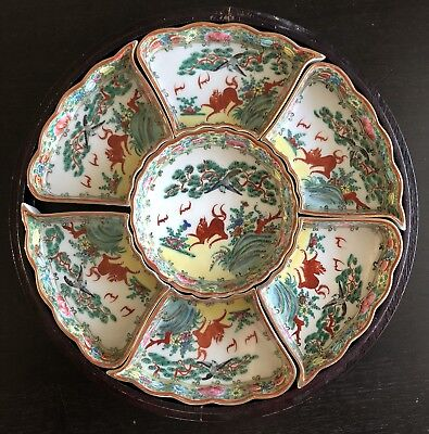 Fine Vintage 20th C Chinese Foo Lion Bird Art Porcelain Meat Nut Tray Dish Set