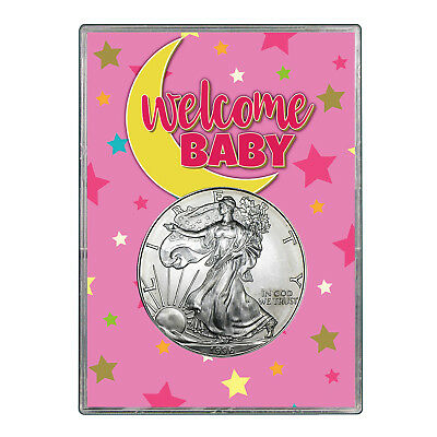 1996 $1 American Silver Eagle Gift Holder - Welcome Baby Pink Design