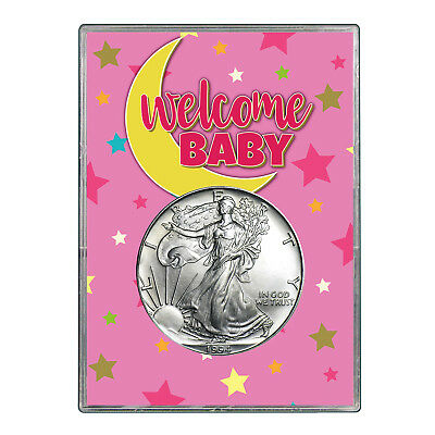 1994 $1 American Silver Eagle Gift Holder - Welcome Baby Pink Design