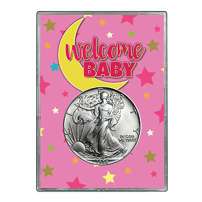 1986 $1 American Silver Eagle Gift Holder - Welcome Baby Pink Design