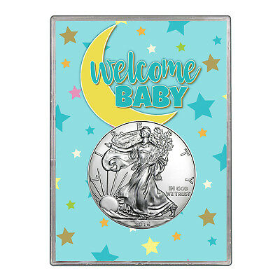 2016 $1 American Silver Eagle Gift Holder - Welcome Baby Blue Design