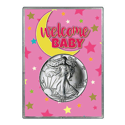 1987 $1 American Silver Eagle Gift Holder - Welcome Baby Pink Design