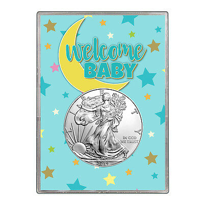 2014 $1 American Silver Eagle Gift Holder - Welcome Baby Blue Design