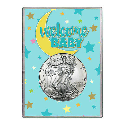 1996 $1 American Silver Eagle Gift Holder - Welcome Baby Blue Design