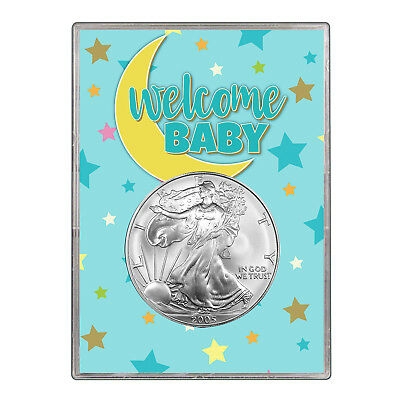 2005 $1 American Silver Eagle Gift Holder - Welcome Baby Blue Design