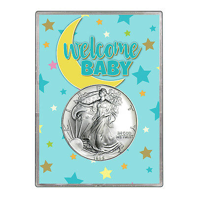 1995 $1 American Silver Eagle Gift Holder - Welcome Baby Blue Design