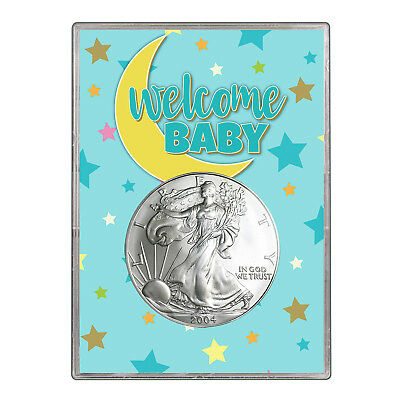 2004 $1 American Silver Eagle Gift Holder - Welcome Baby Blue Design