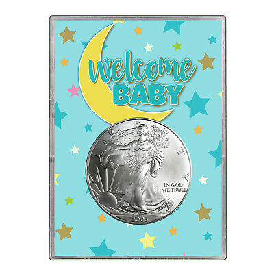 2003 $1 American Silver Eagle Gift Holder - Welcome Baby Blue Design