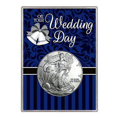 1998 $1 American Silver Eagle Gift Holder – Wedding Day Design