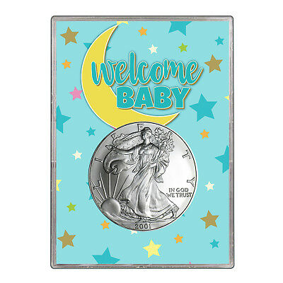 2001 $1 American Silver Eagle Gift Holder - Welcome Baby Blue Design
