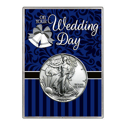 1989 $1 American Silver Eagle Gift Holder – Wedding Day Design