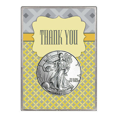 1997 $1 American Silver Eagle Gift Holder – Thank You Design