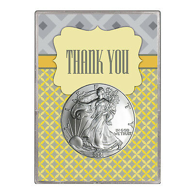 2001 $1 American Silver Eagle Gift Holder – Thank You Design