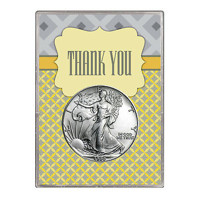 1990 $1 American Silver Eagle Gift Holder – Thank You Design