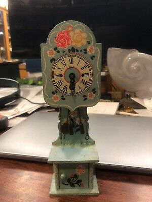 Vintage Heco Blue Hand-Painted Dollhouse Grandmother Clock Germany w/Key