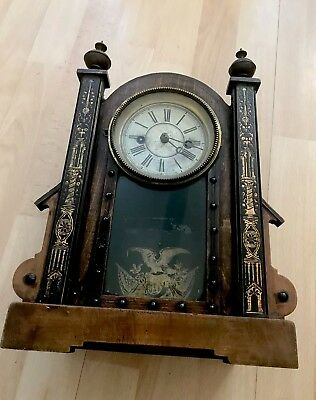 vintage wooden mantle clock For Spairs/repairs