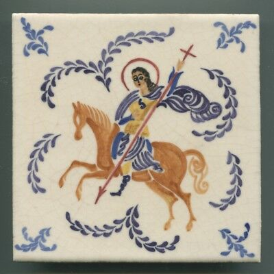 "Hand painted 6"" square tile by Reginald Till for Carter & Co, Poole, c1950"