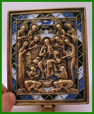 Russian orthodox bronze icon Sedmitsa (The Week). Enameled.