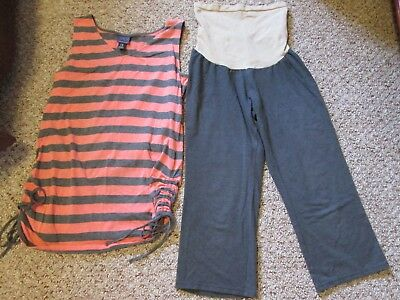 Oh Baby Striped Maternity Top Size Large & Capris Size Medium Set GUC
